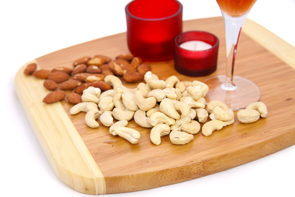 Nuts, wine, candles