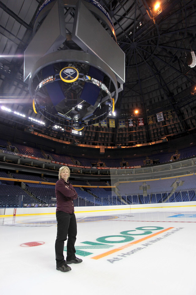 Me, on the ice at the First Niagara Center, next to the NOCO logo