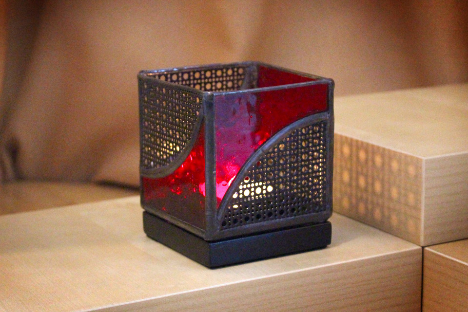 Stained Glass and Metal Candle Holder 3×3 - Red